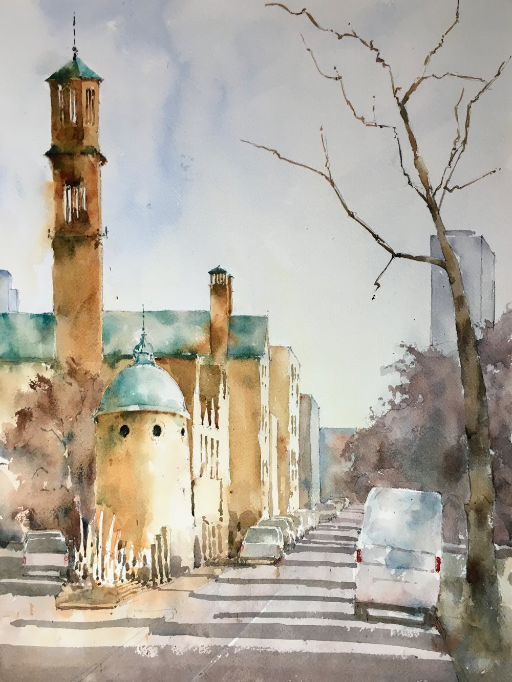 "Cambridge in Fall.   Michele Clamp.  Watercolor 19""x14"""
