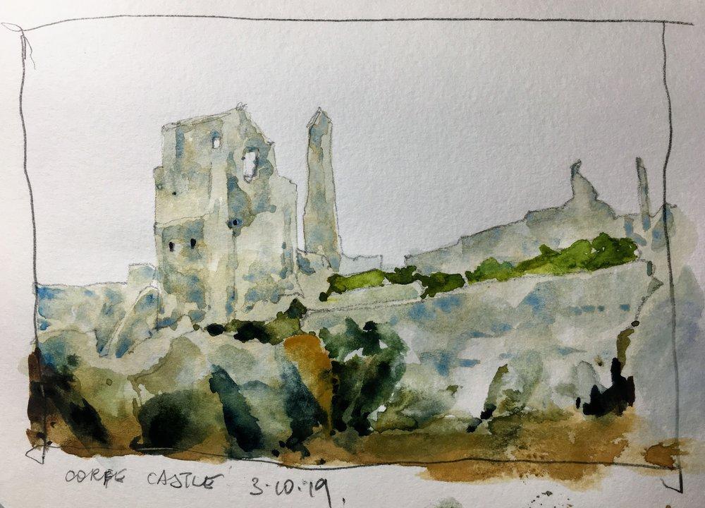 """Corfe Castle sketch.   Michele Clamp.  Watercolor.  5x8"""""""
