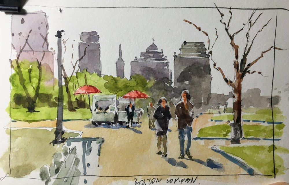 """Boston Common sketch.  Michele Clamp.  Watercolor.  5""""x8"""""""