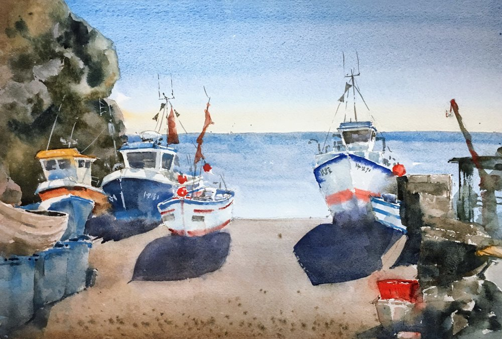 """Cadgwith Harbor, Cornwall. Michele Clamp. Watercolor 12""""x18"""""""
