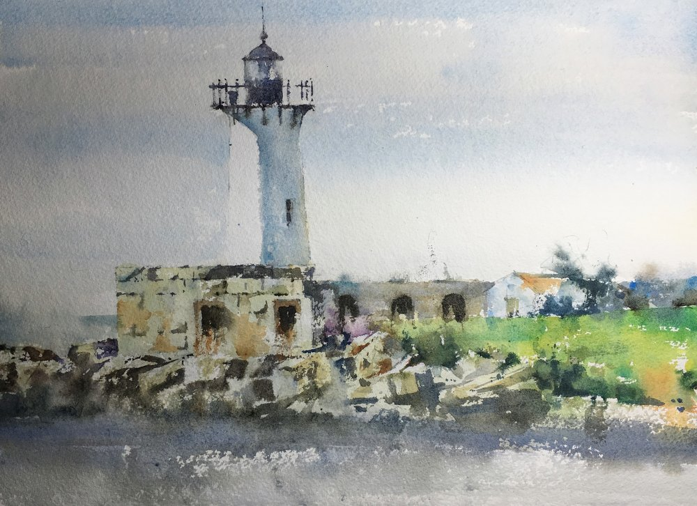 """Kittery Lighthouse.  Michele Clamp.  Watercolor 11""""x14"""""""