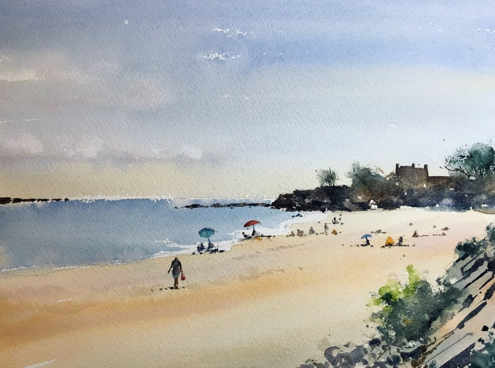 """Singing Beach, Manchester-by-the-Sea. Michele Clamp. Watercolor 11""""x14"""""""