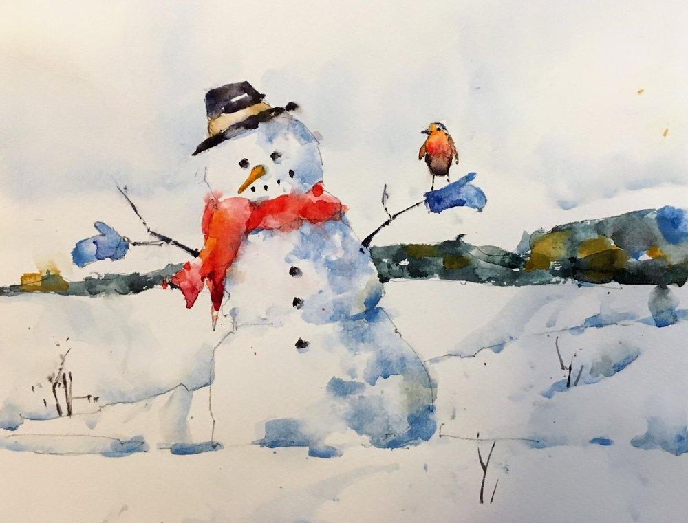 "Snowman.  Michele Clamp.  Watercolor 8""x10"""