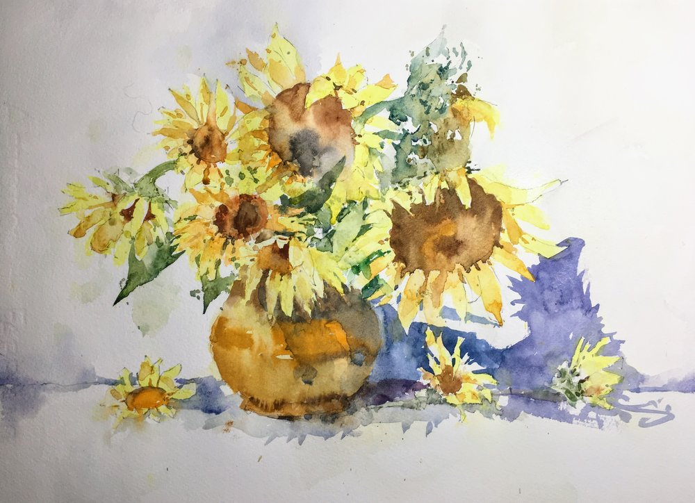 """Sunflowers. Michele Clamp. Watercolor 11""""x14"""""""