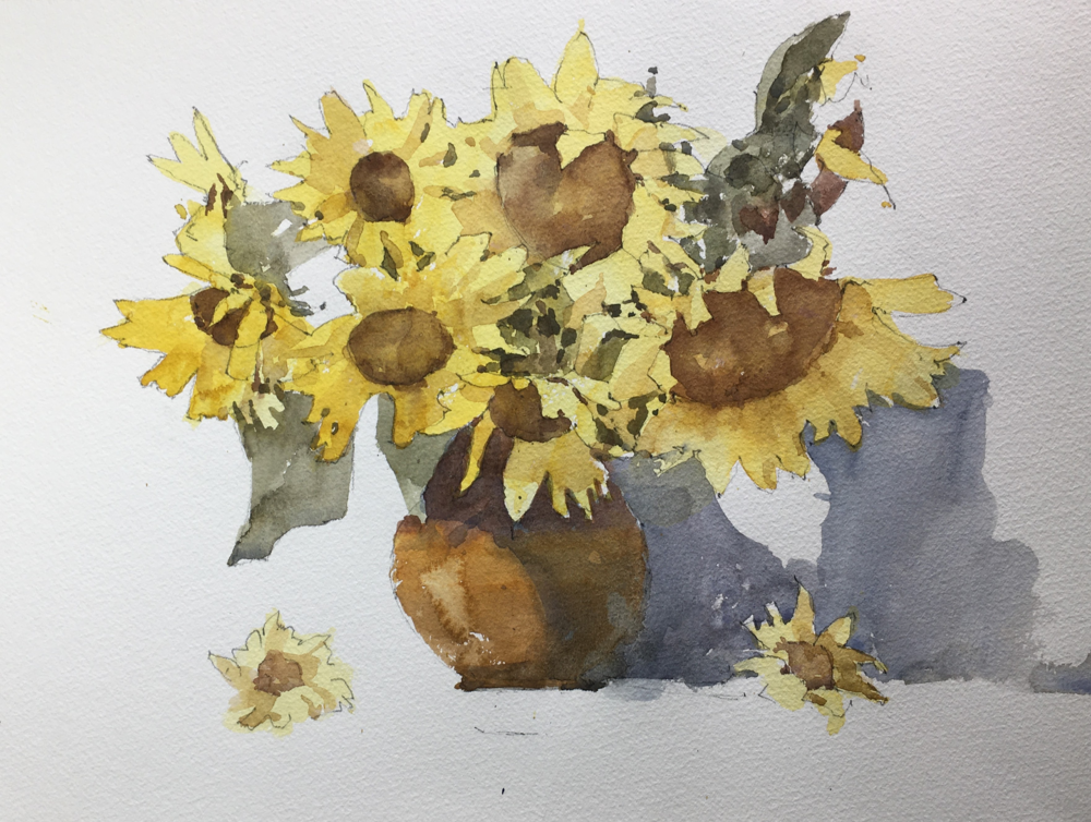"""Sunflowers. Michele Clamp. Watercolor. 11""""x14"""""""