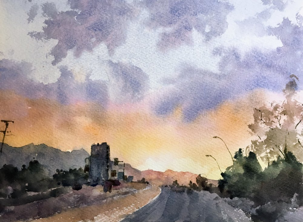 """Sunset on the highway. Michele Clamp. 11""""x14"""". Watercolor on 200lb Bockingford"""