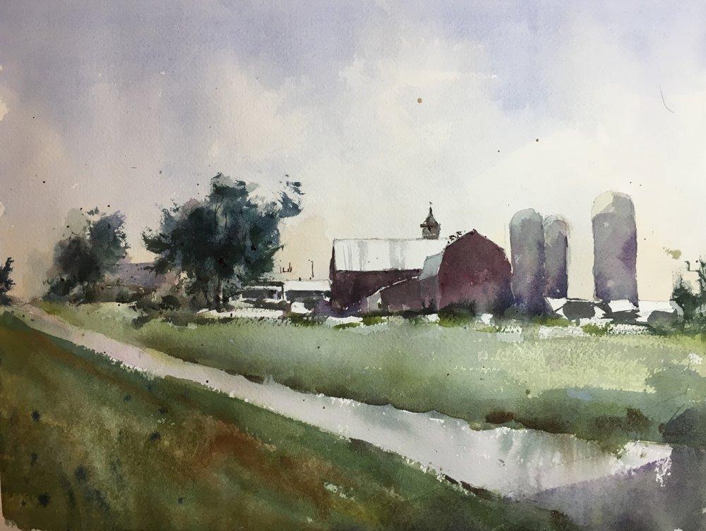"""Vermont Barn, near Monkton. Watercolor by Michele Clamp. 11""""x14""""."""