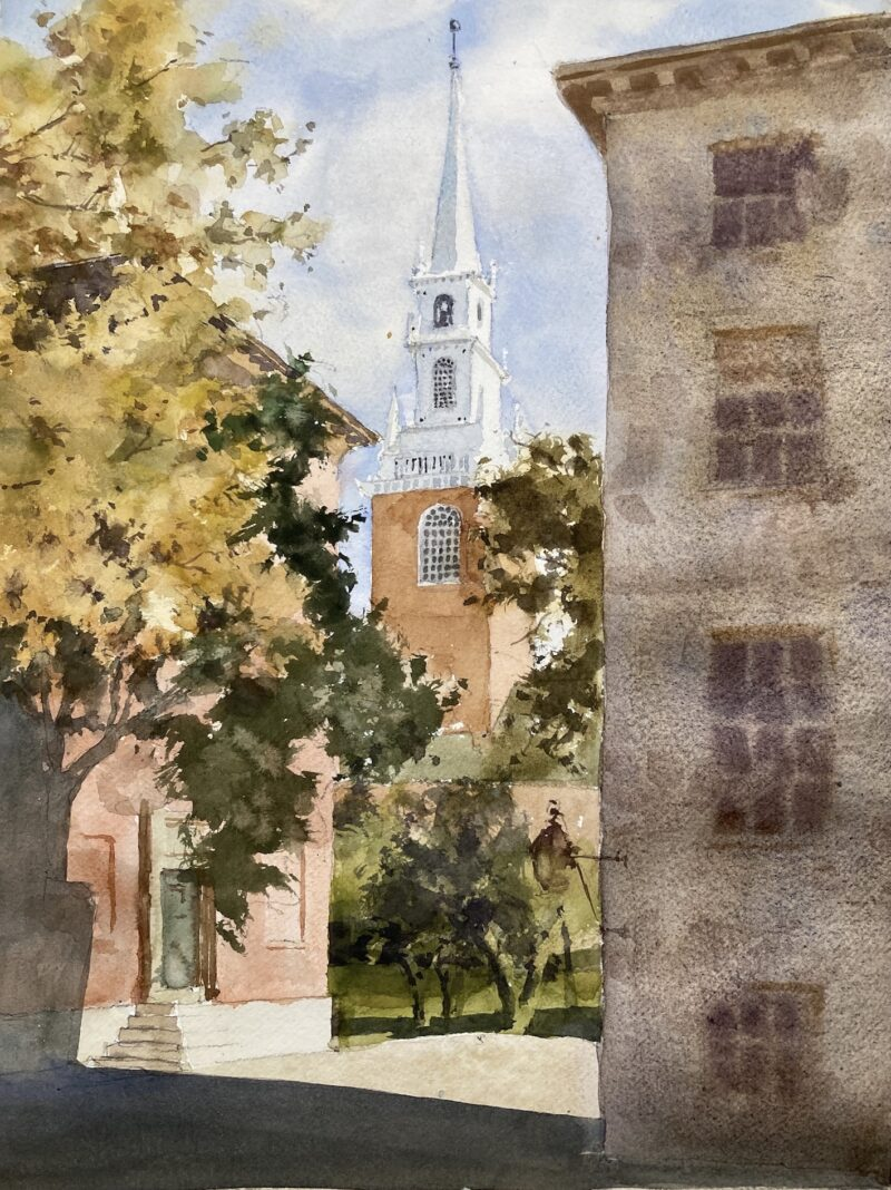 Memorial Church, Harvard Yard, Cambridge, MA. Watercolor painting by Michele Clamp