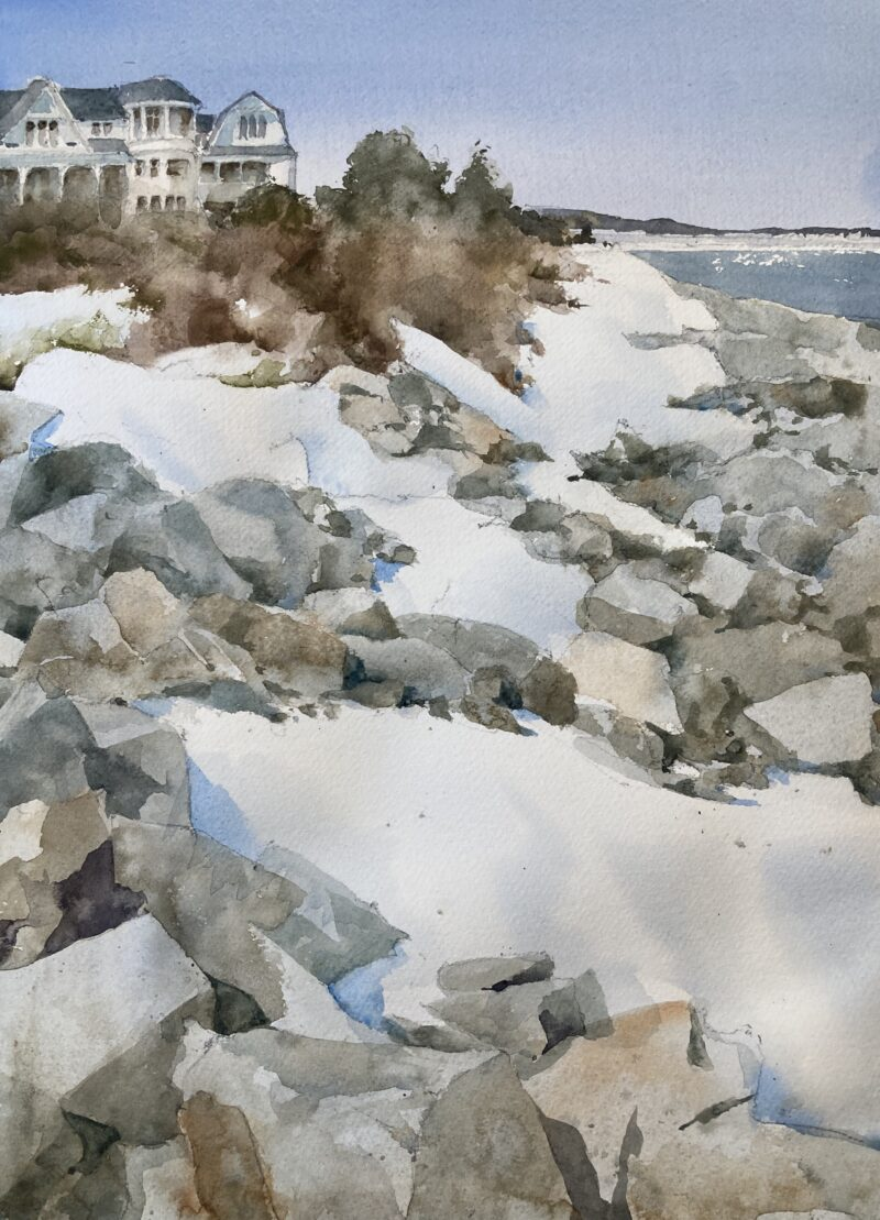 Ogunquit Coast Watercolor Painting by Michele Clamp