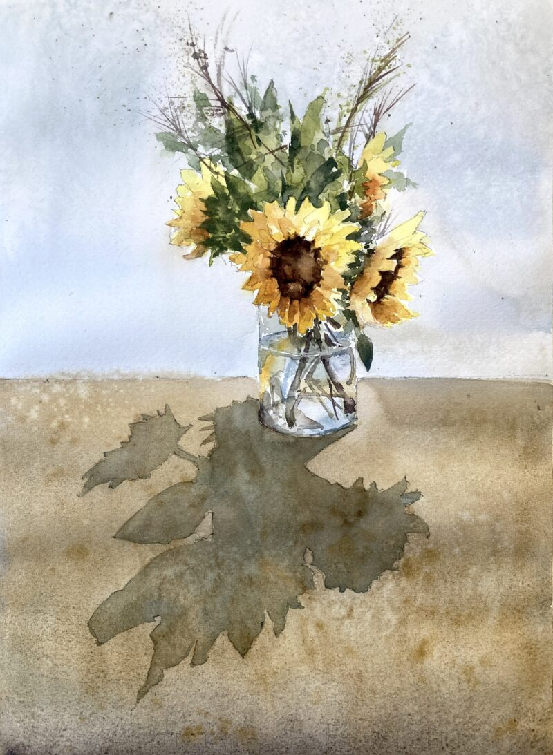 sunflowers against the light watercolor painting by Michele Clamp
