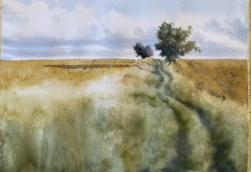 english fields watercolor by Michele Clamp